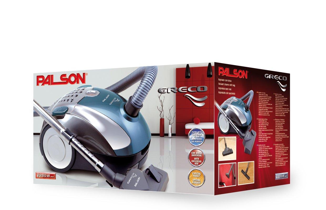 Palson 30552 Greco-Aspirador con Bolsa (2200 W, 220-240 V, Filtro purificador), Turquesa Metalizado, 65 Decibeles, Multicolor: Amazon.es: Hogar