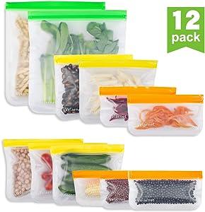 Reusable Storage Bags - 12 Pack BPA FREE Freezer Bags(5 Leakproof Reusable Sandwich Bags & 5 Reusable Snack Bag & 2 Reusable Gallon Bags) Food Grade PEVA Ziplock Lunch Bags for Sandwich & Fruit