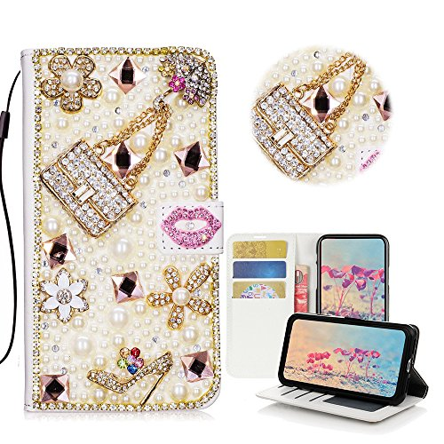 STENES Galaxy S9 Case - Stylish - 3D Handmade Crystal Girls Bags High Heel Lips Flowers Wallet Credit Card Slots Fold Media Stand Leather Cover Case Samsung Galaxy S9 - Pink by STENES (Image #3)