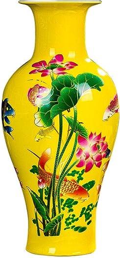 "JHDPH Large Fishtail Ceramic Floor Vase,Flower Vase Home Decorative Vase,Living Room Art,Height 14.5"" 37cm ,Yellow Color : A Color : C"