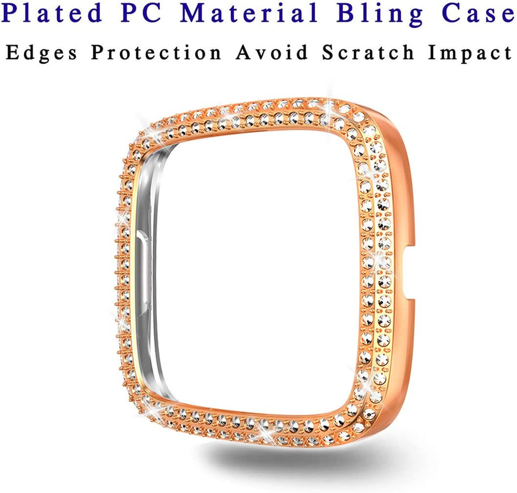 Silver Face Cover PC Plated Bumper Protective Frame for Versa 2 Compatible with Fitbit Versa 2 Protector Case Bling Double Row Crystal Diamonds Shiny Rhinestone Bumper