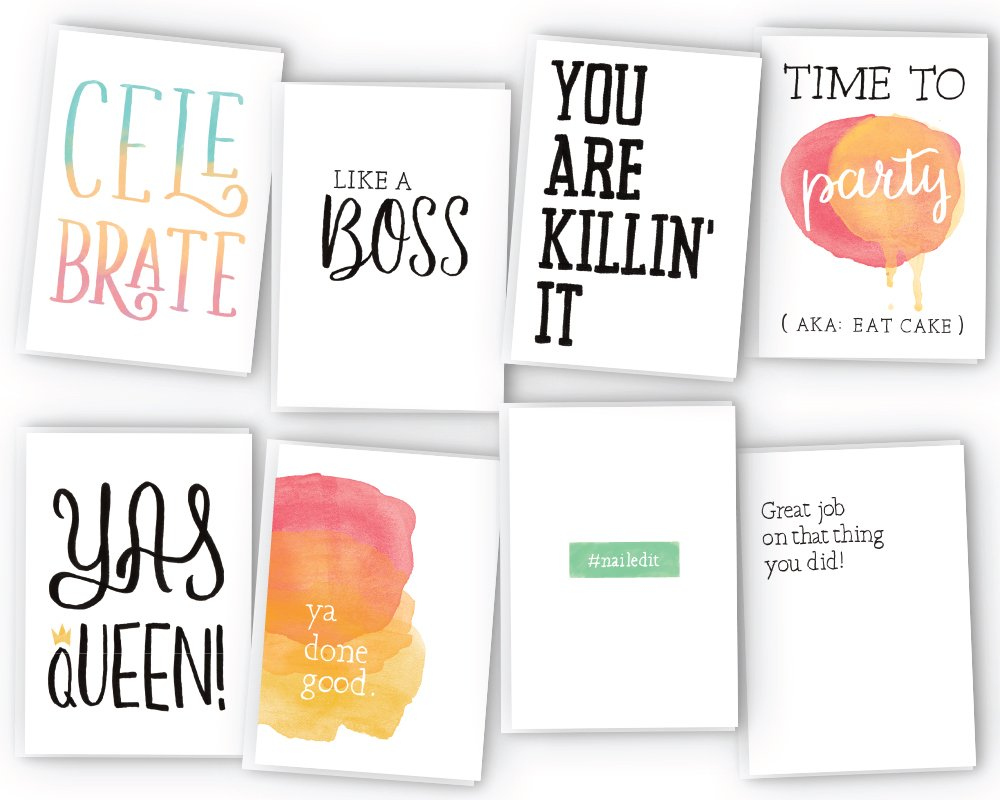 All Occasion Sassy Greeting Cards Assortment - 48 Cards & Envelopes - Birthday Cards, Graduation Cards, Encouragement Cards, Congratulations Cards