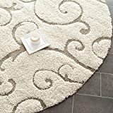 Safavieh SG455-1113-5R Florida Shag Collection Cream/Beige Round Area Rug, 5-Feet in Diameter