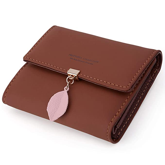 e97161af0109a UTO Small Wallet for Women PU Leather Leaf Pendant Card Holder Organizer  Girls Zipper Coin Purse