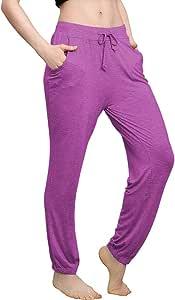 Beiziml Comfy Sport Pants Women High Waist Elastic Waist Jogging Pants Bloomers Active Wear Home Clothes Loose Harem Pants Cotton