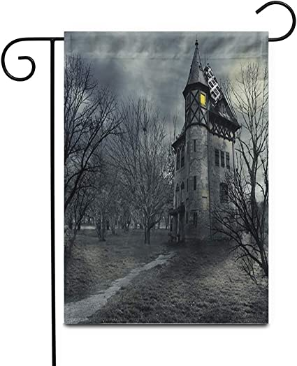 Awowee 28 X40 Garden Flag Fantasy Halloween Haunted House Horror Castle Scary Spooky Gothic Outdoor Home Decor Double Sided Yard Flags Banner For Patio Lawn Garden Outdoor