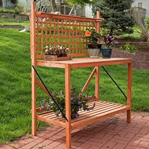 Coral Coast Coral Coast Fir Wood Foldable Potting Bench, Wood, 48W x 24D x 60H in. by Weicheng (HK) Industrial Trade Co Ltd