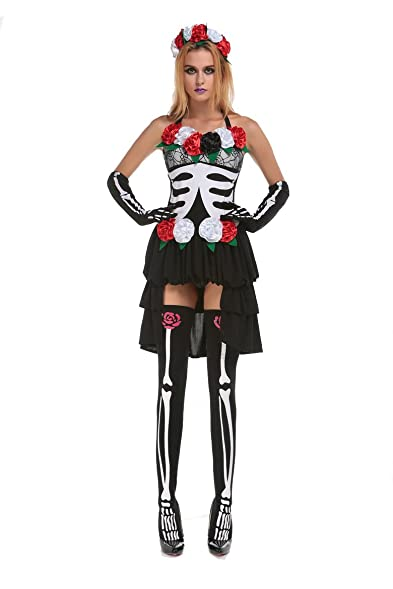 PINSE Mrs Muerte Mexican Day of the Dead Skeleton Costume  sc 1 st  Amazon.com & Amazon.com: PINSE Mrs Muerte Mexican Day of the Dead Skeleton ...