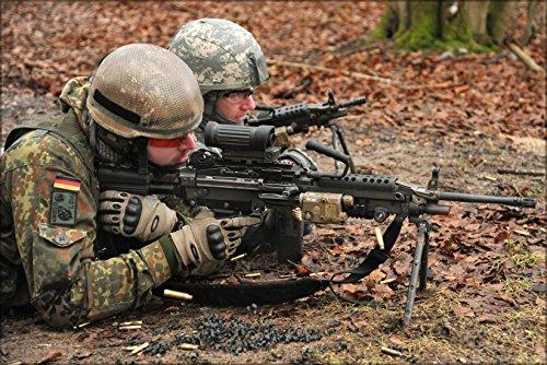 20x30 Poster; German Army With U.S. M249 Light Machine Gun