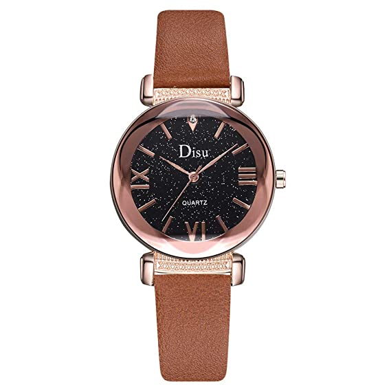 Amazon.com: Fashion Simple Starry Sky Watch Quartz Leather ...
