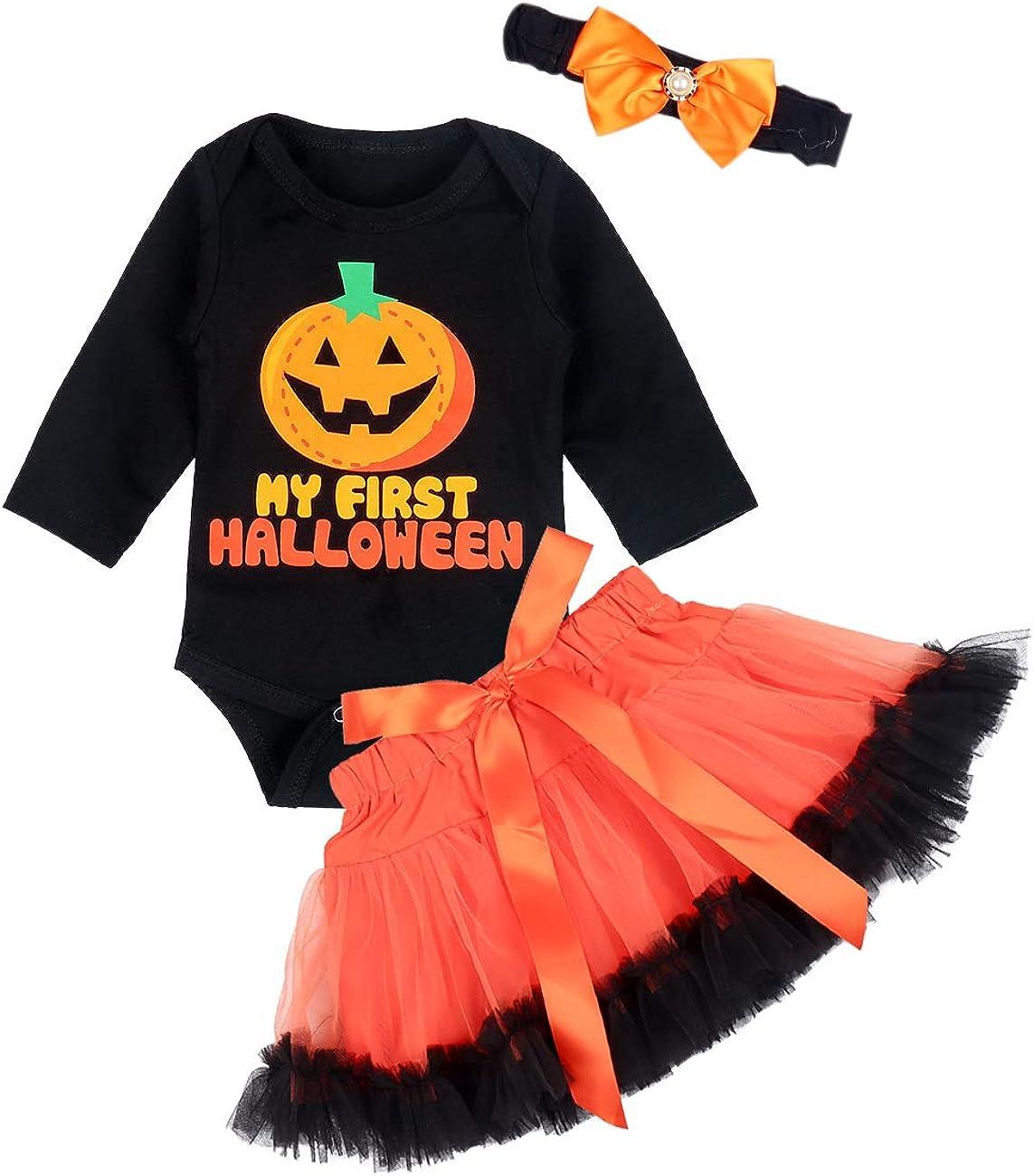 Leg Warmers with Headbands 4Pcs Dress Outfit Set. My First Halloween Newborn Baby Girls Clothes Romper Bow Tutu Short Skirt