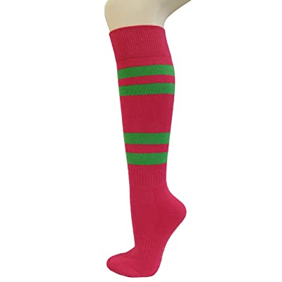 Couver Hot Pink Softball/Sports Striped Knee High Athletic Socks(1 Pair)
