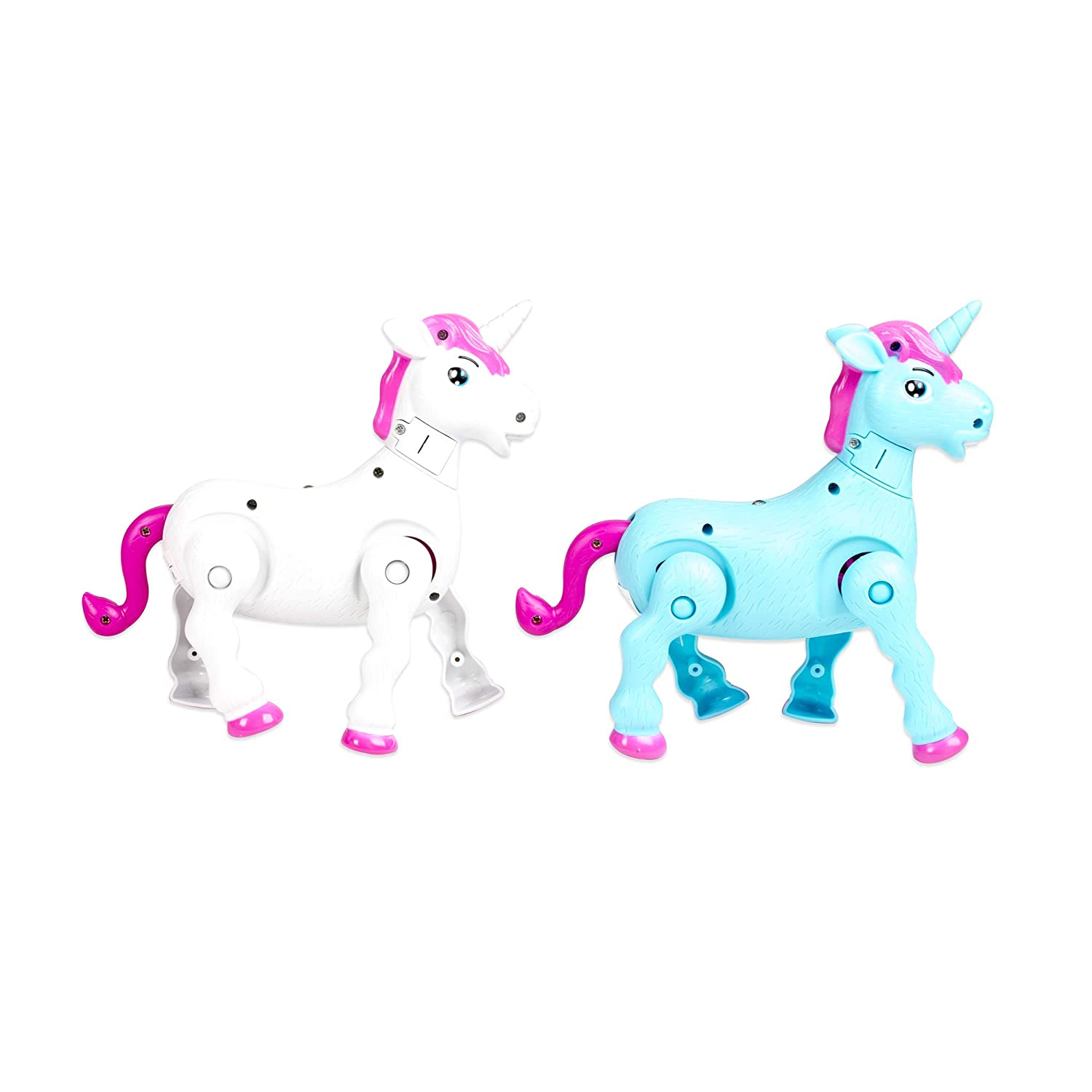 Pink White and Blue Master Toys /& Novelties SG/_B075ZHMRT2/_US Set of 3 Prancing Magical Unicorns with Sound 7 Inch Toys