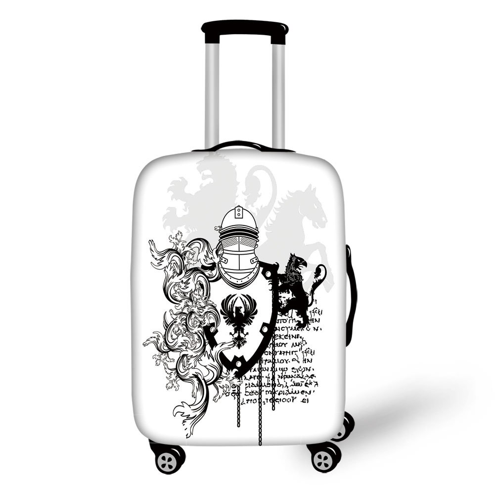 Travel Luggage Cover Suitcase Protector,Medieval Decor,Heraldic Helmet Coat of Medieval Knight with Ornate Pattern the Past Old Times Graphic,Black White,for Travel