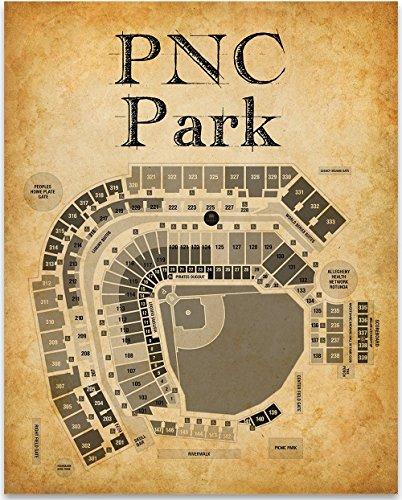 Pnc Park Stadium Baseball Seating Chart Art Print   11X14 Unframed Art Print   Great Sports Bar Decor And Gift For Baseball Fans