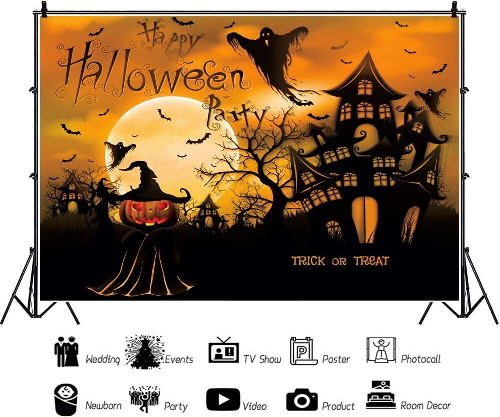 Baocicco 5x3ft Happy Halloween Party Trick or Treat Backdrop Cartoon Ghost Haunted House Dead Tree Full Moon Photography Background Kids Party for Halloween Costume Party Night Party Photo