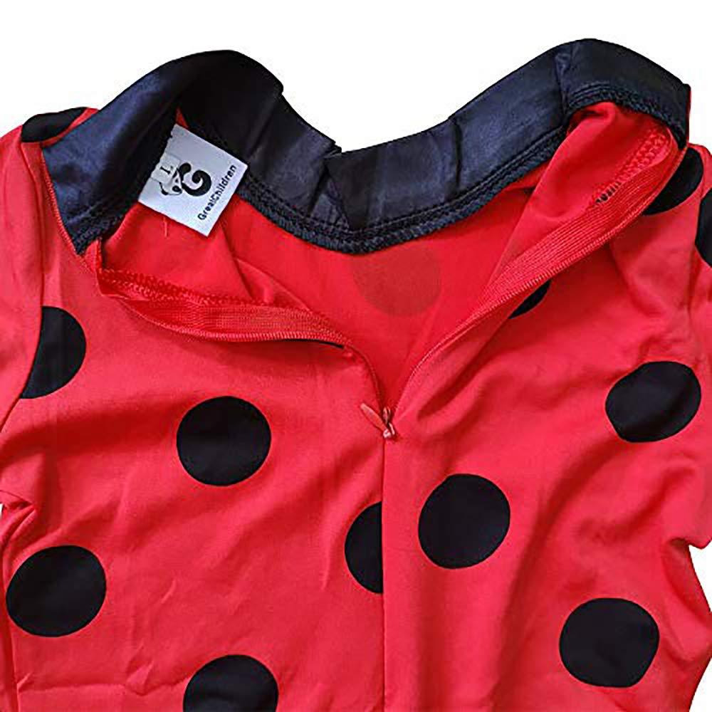 GREATCHILDREN Ladybug Girls Cosplay Costumes Halloween Christmas Costumes For Girls Wig Kids Ladybug Marinette Cosplay Holiday Clothing Birthday present (L)