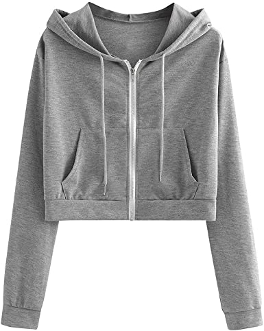 Hooded Crop Tops for Women Zip Up Solid Color with Pockets Athletic Workout  Drawstring Hooded Sweatshirts at Amazon Women's Clothing store
