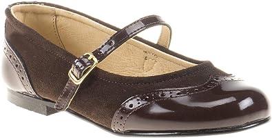 Zapatos Merceditas de niña con Cierre de Velcro. Este Zapato Francesita está Fabricado en Piel Serraje y Charol y Hecho en España - Mi Pequeña Modelo 1525I Color Marrón.: Amazon.es: Zapatos y