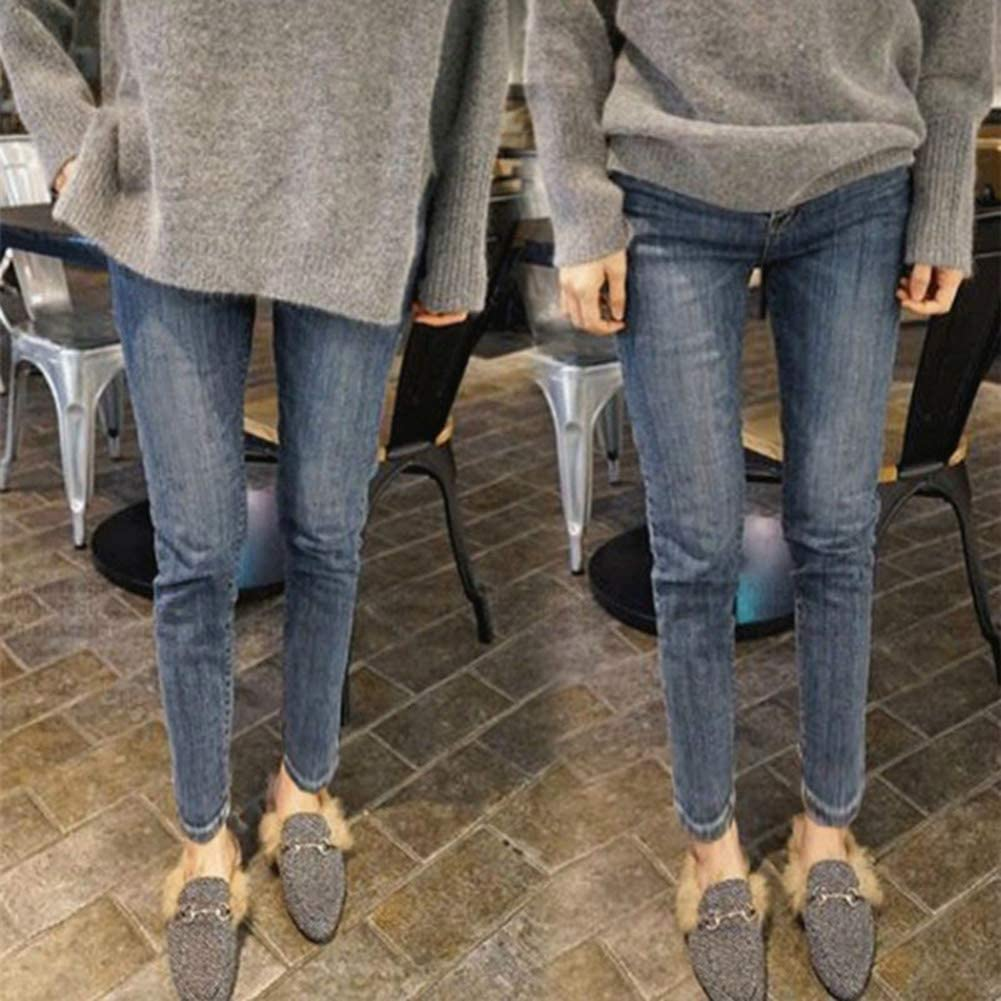RollingBronze Women High Waist Warm Jeans Pants Thick Plush Lined Skinny Denim Stretchy Trousers