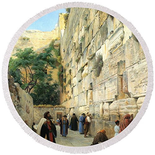 Pixels Round Beach Towel With Tassels featuring ''The Wailing Wall Jerusalem'' by Pixels by Pixels