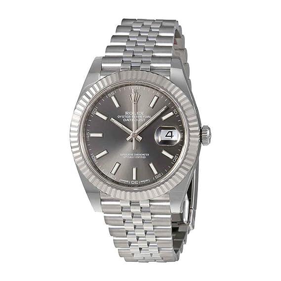 Rolex Datejust - Reloj de pulsera para hombre, dial de rodio oscuro, automático,