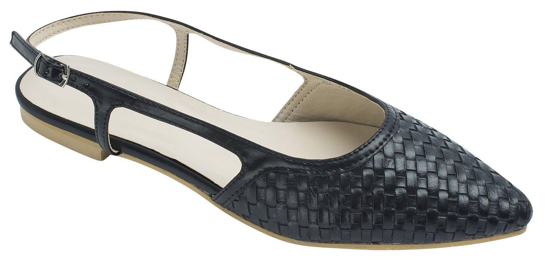 Sweet Holic Womens Woven Emboss Slingback Flat Shoes B01J5HFYYA 5 B(M) US|Black