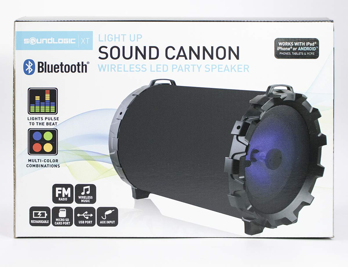 Soundlogic Sound Cannon Light up Led Wireless Bluetooth Professional Quality Speaker Built in Radio Foldable Handles Full Controls Auxiliary Port USB Wire Included Premium Bass and Treble (1 Pack) by SOUNDLOGIC
