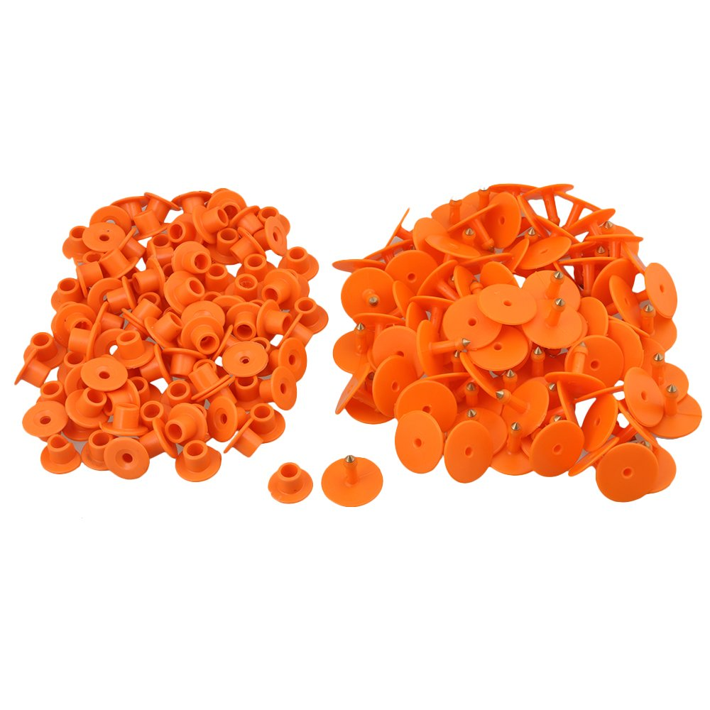 BQLZR 3 x 2.5cm Orange Plastic Round Shape Livestock Ear Tag For Pigs Sheep Goats Dogs Pig Pack of 100