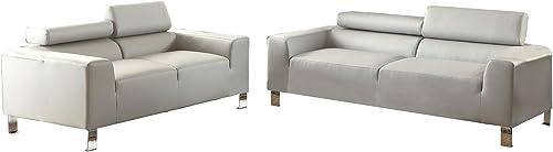 Poundex Bobkona Ellis Bonded Leather 2 Piece Sofa and Loveseat Set, Grey
