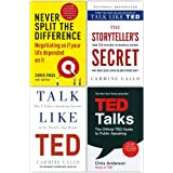 Never Split the Difference, The Storyteller's Secret, Talk Like TED, TED Talks 4 Books Collection Set