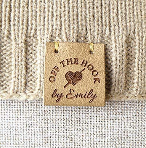 1b3f07fa5ddf1 Folding leather labels, knitting labels, personalized logo labels, crochet  labels, custom made logo labels, branding leather tags, set of 25