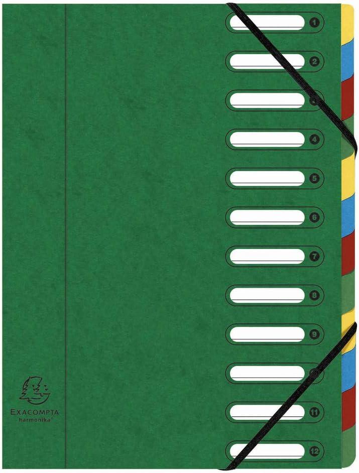 1 St/ück schwarz Harmonika, DIN A4, 21 x 29,7 cm, 12 F/ächer, aus Manila-Karton, Gummizug, Indexfenster Exacompta 55121E Ordnungsmappe