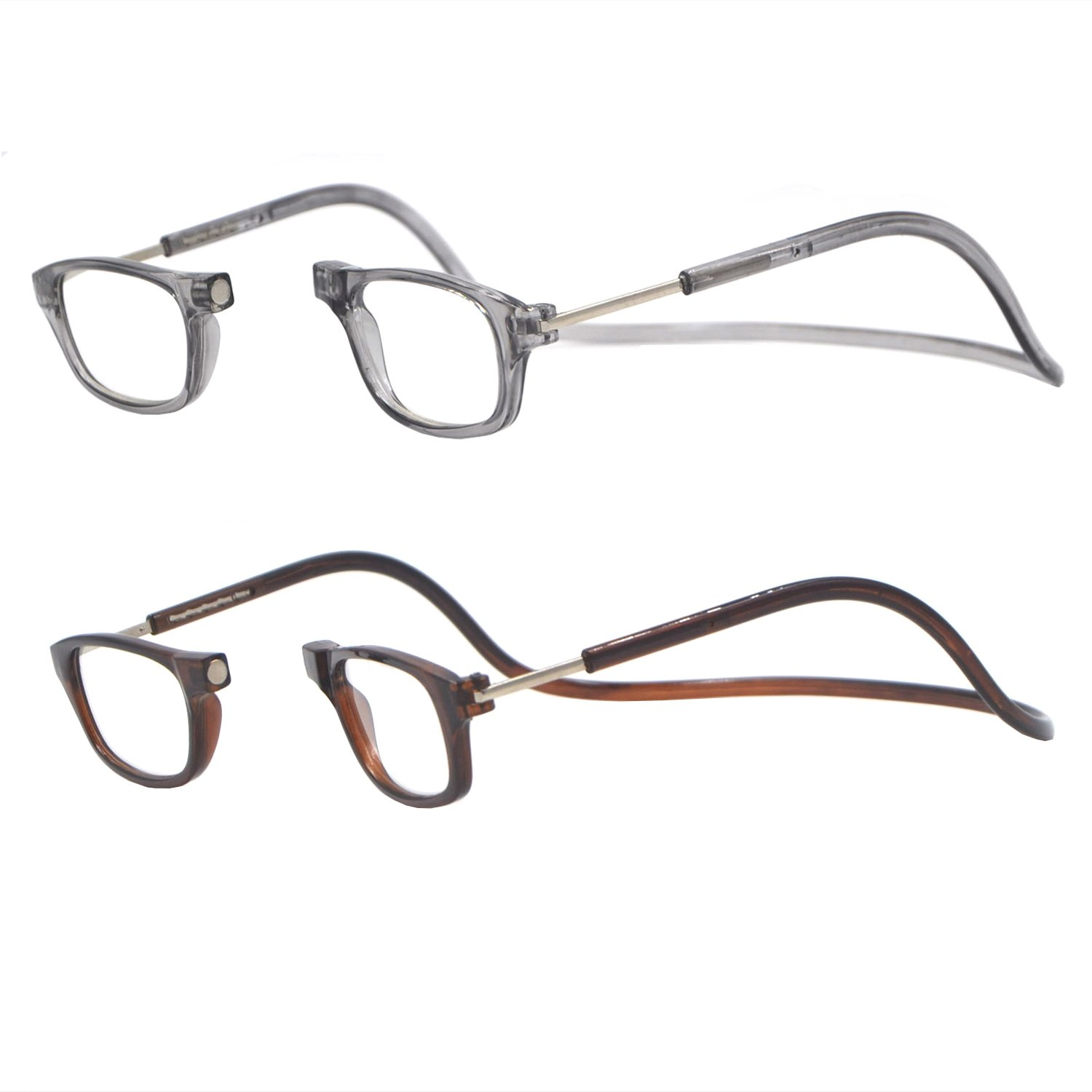 2 Pack Gray and Brown Frames Front Connection Reader Glasses (2.25X)