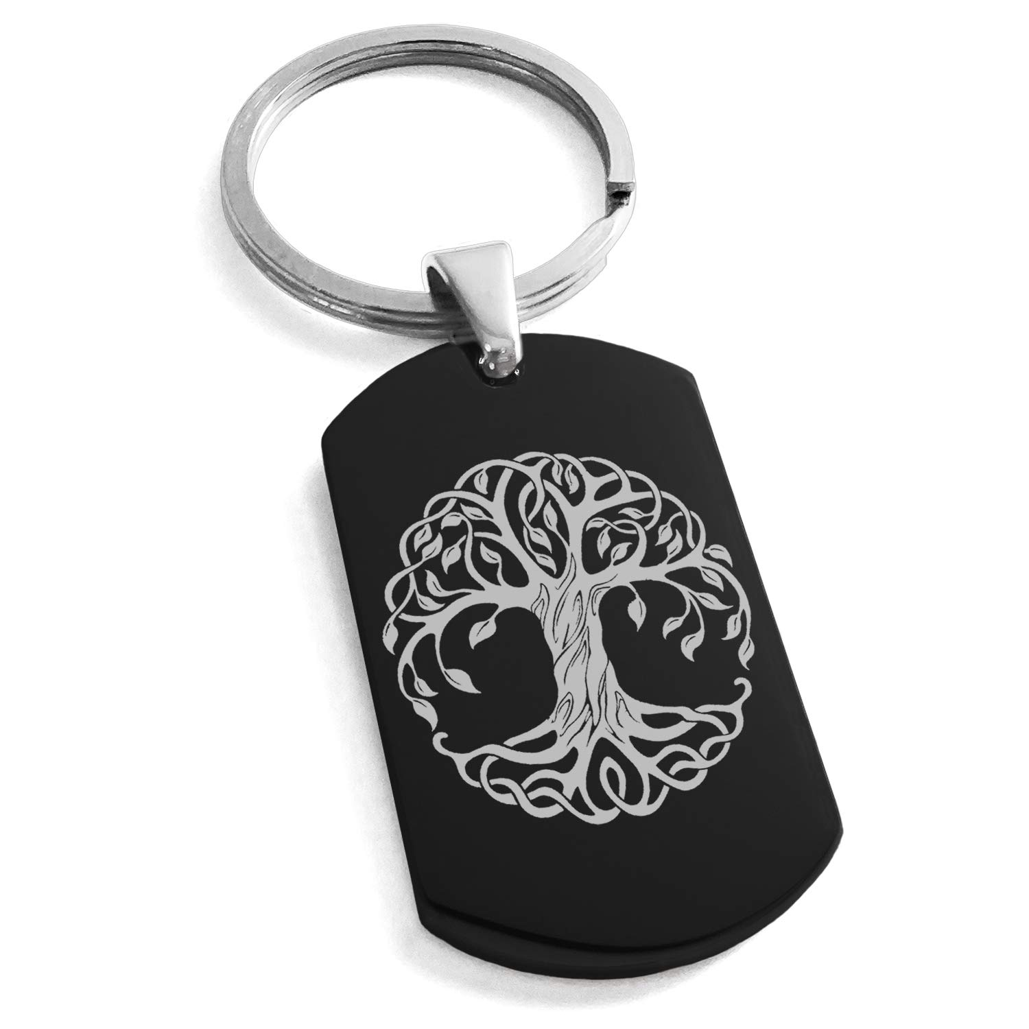 Tioneer Black Stainless Steel Celtic Knot Tree of Life Symbol Engraved Dog Tag Keychain Keyring