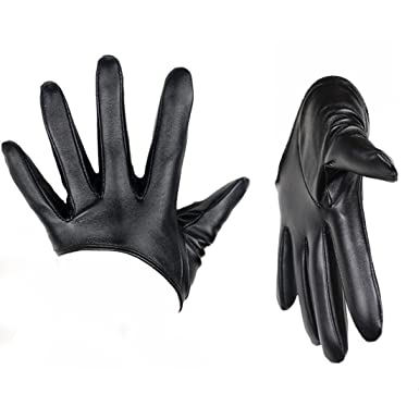 Gants De Demi Palme Cinq Doigts Faux Cuir Pour Femmes Noir  Amazon.fr   Vêtements et accessoires 0977f1eb0e4