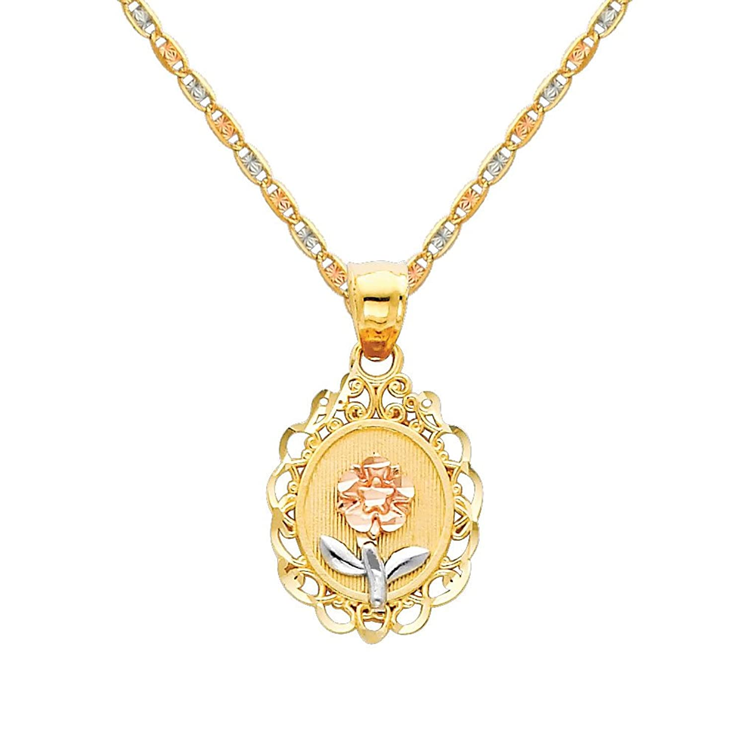 14k Tri Color Gold Flower Pendant with 1.5mm Valentino Diamond Cut Chain Necklace