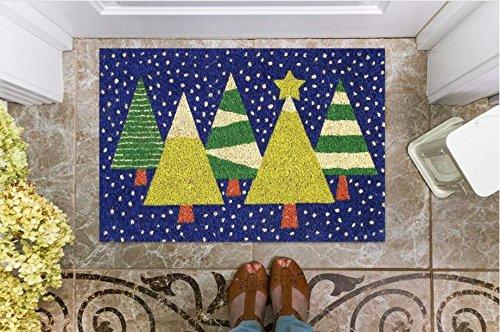 16 X 24 Inch, Blue with Christmas Tree All Weather Exterior Doors Front Door Cranberry Mats Designer Natural Coir Non Slip Doormat for Patio