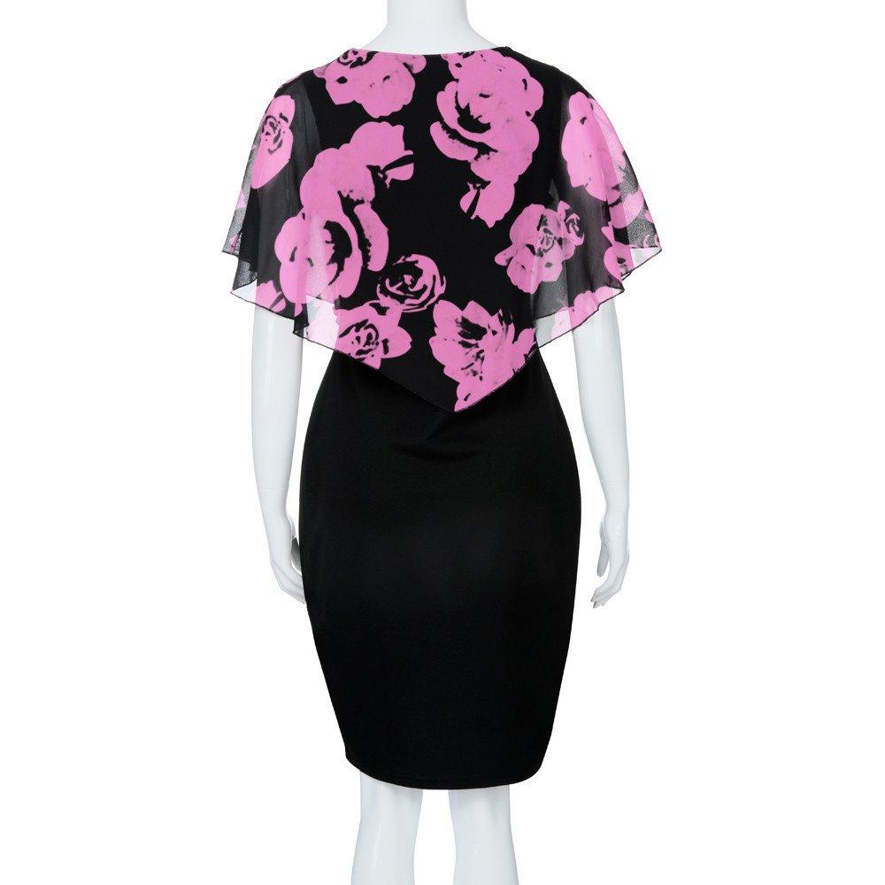 Auifor Moda para Mujer Casual Rose impresi/ón Gasa O Cuello con Volantes Mini Vestido