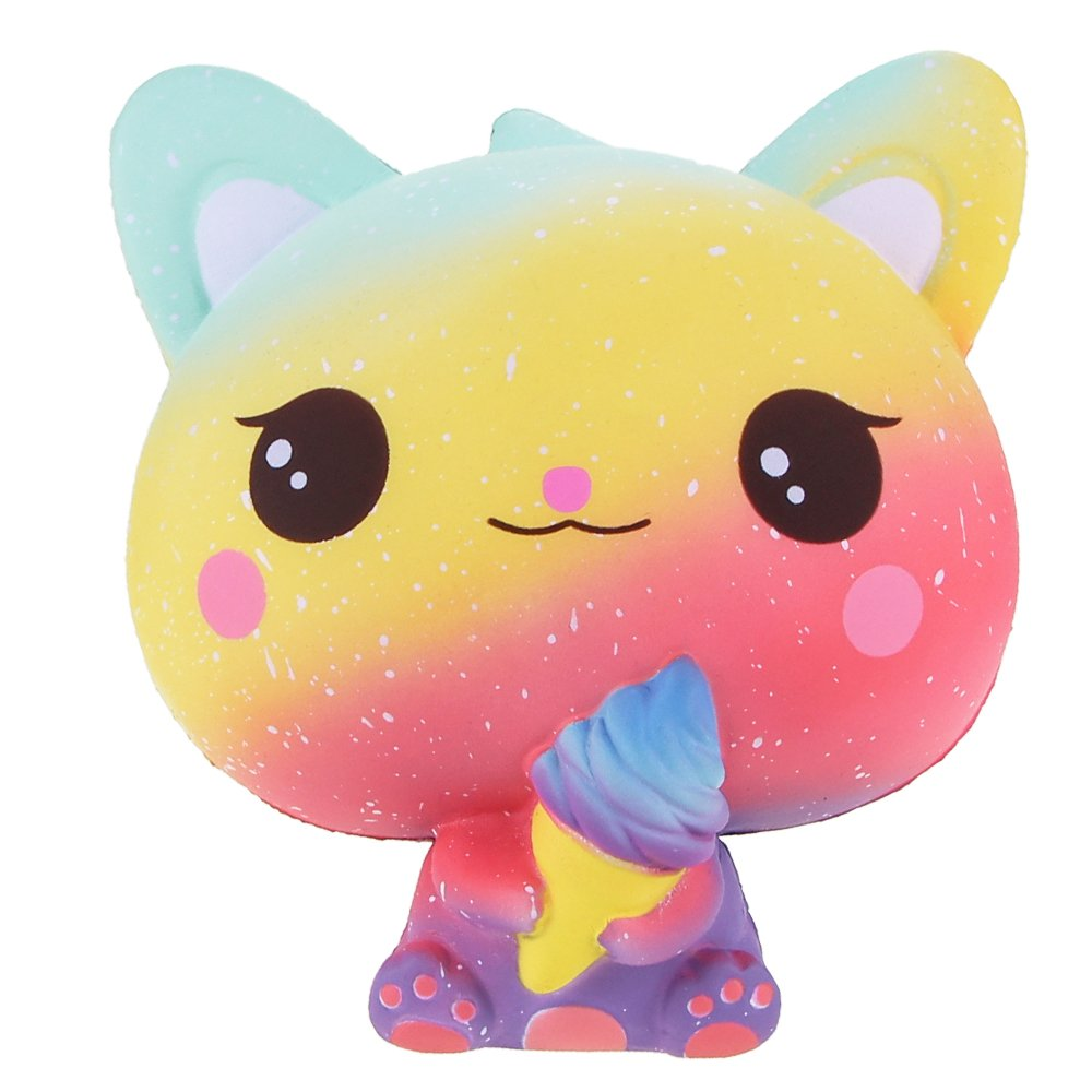 Squishies Jumbo Ice Cream Cat, VLAMPO Slow Rising Stress Relief Squishy Toys Super Soft Kawaii Scented Decoration Toys Squishy Fun Collection for Kids & Adults (Rainbow)