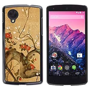 QCASE / LG Google Nexus 5 D820 D821 / flores rama de árbol en flor rojo marrón / Delgado Negro Plástico caso cubierta Shell Armor Funda Case Cover