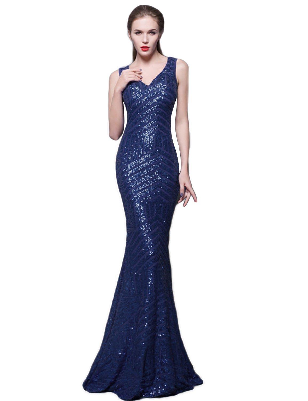 Navy Blue Formal Sequin Dress: Amazon.com