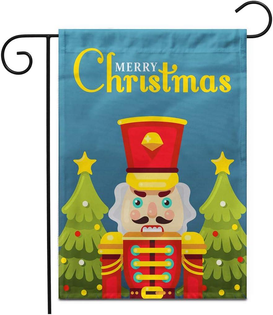"Adowyee 28""x 40"" Garden Flag Merry Christmas Nutcracker Greeting Poster Flat Stylenutcracker Art Ballerina Ballet Outdoor Double Sided Decorative House Yard Flags"