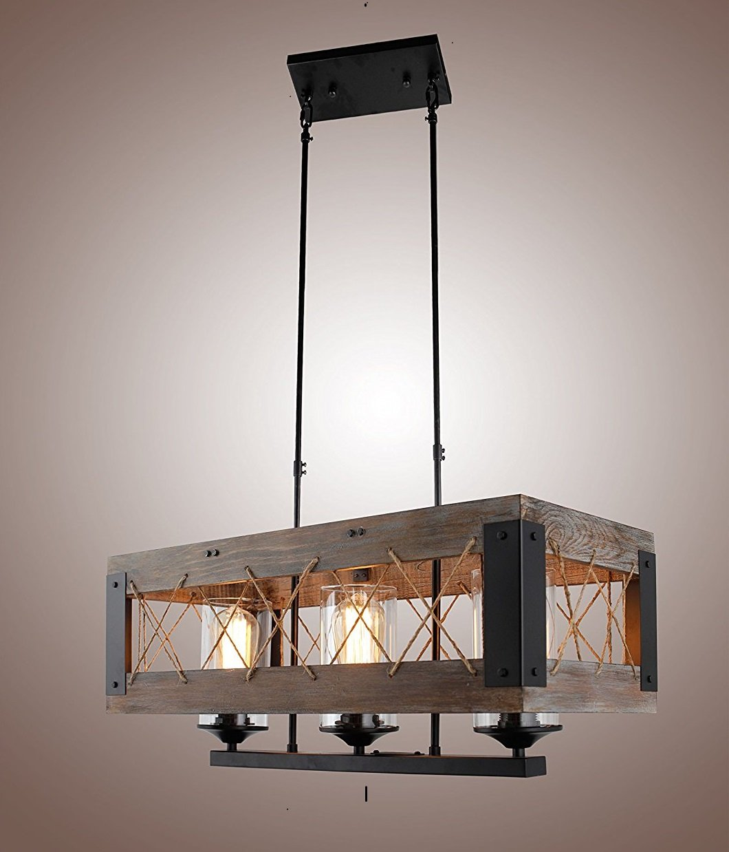Wood rectangular pendant lighting chandeliers kitchen island lighting hanging ceiling light fixture vintage rustic oil black 24 inches 3 lights