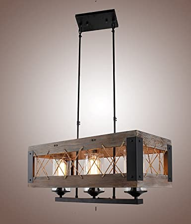 Wood Rectangular Pendant Lighting Chandeliers Kitchen Island Lighting  Hanging, Ceiling Light Fixture Vintage Rustic Oil Black (24 Inches ( 3  Lights)) ...