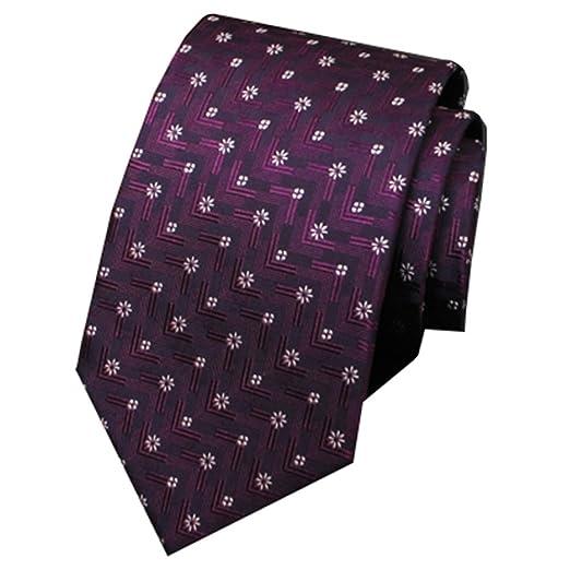 Fgregt Corbata de Seda Morada para Hombre, diseño de Flores ...