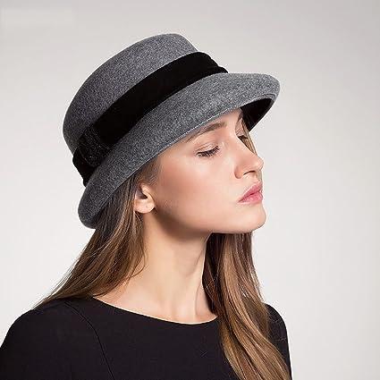 20fe7975e3d66 Señoras Chicas Sombreros para mujeres Clásico Sombrero de campana elegante  Sombrero de fieltro Sombrero de ala