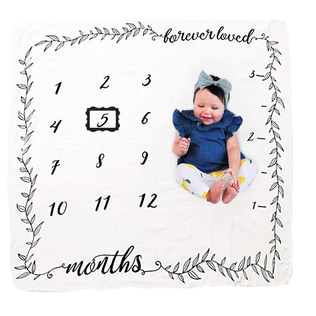 Neugeborene oenbopo Baby Monatliche als Foto Hintergrund mit Meilenstein-Druckmuster 100x100cm JMITHA Baby Monats Decke