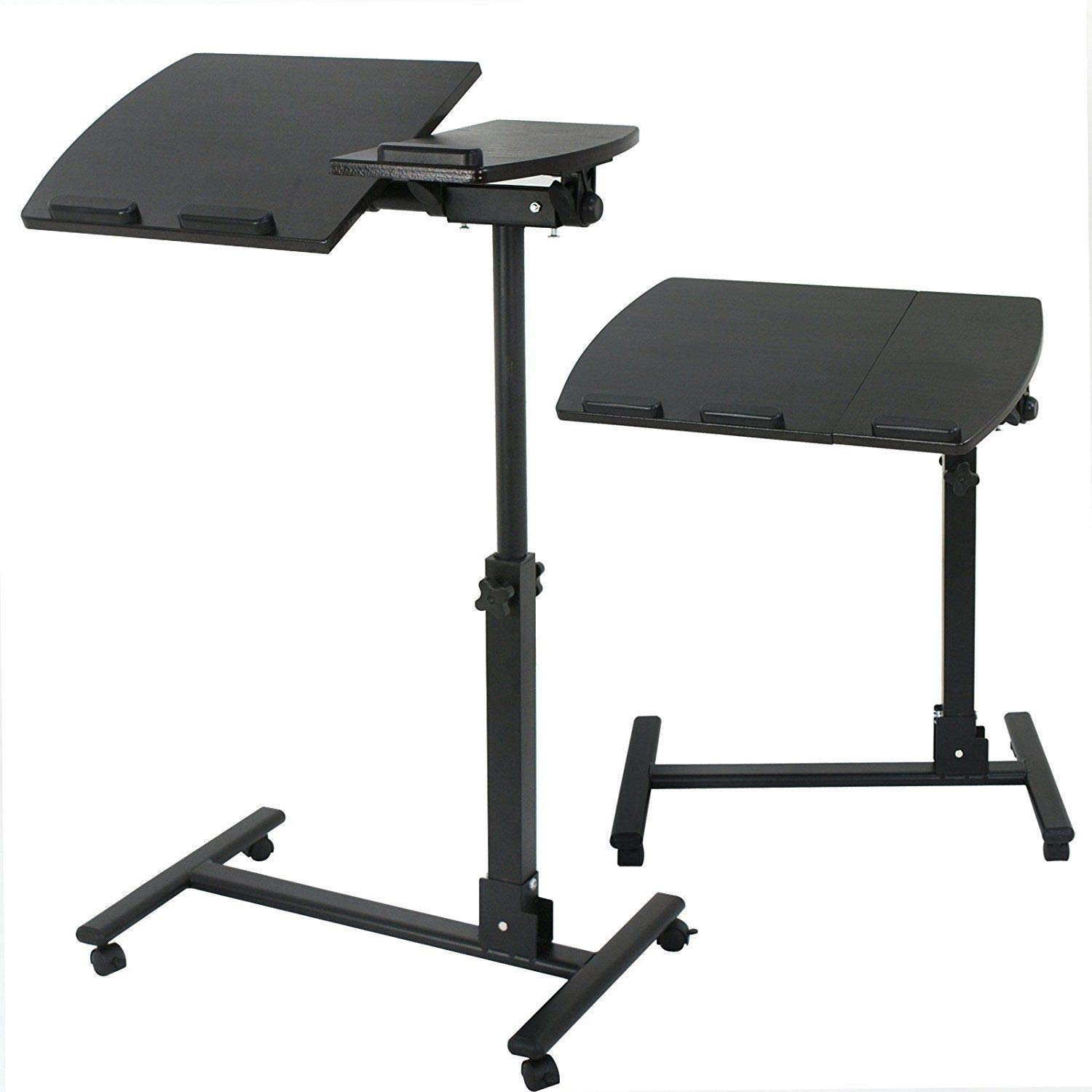 YOLO Stores - Overbed Laptop Desk Table Medical Adjustable Over Sofa/Bed/Couch Notebook Stand Swivel Trolley Sturdy