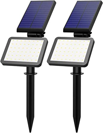 VicTsing Luz Solar/Focos Led Exterior 5 Modos de iluminación (Alta/Media/Baja/Flash/SOS) para Jardín, Patio, Camino, Exterior Etc (Impermeable, 500 lúmenes & 2 Packs & 48LEDs): Amazon.es: Iluminación